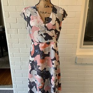 Madison V Neck Floral Cap Sleeve Faux Wrap Dress